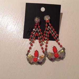 Statement Earrings Silver -Rhinestones & Neon Red