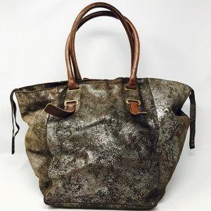 Distressed Metallic Tote Bag