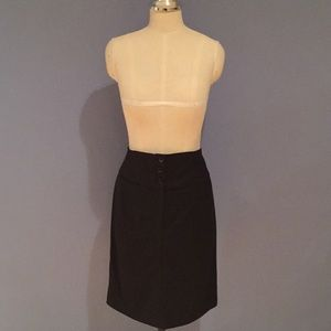 Black Knee Length Skirt Buttons High Waist Size 10
