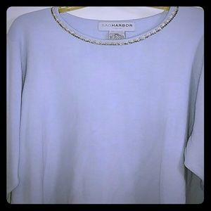 NWOT Beaded Collar Lt Blue 3/4 Sleeve Sweater