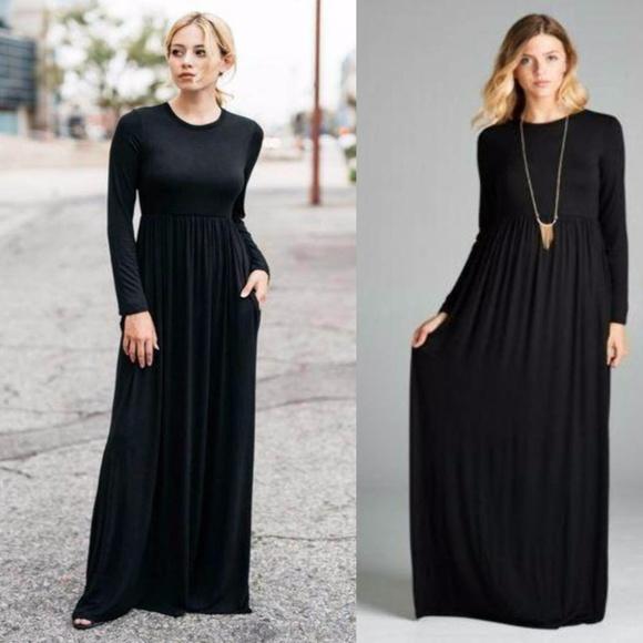 38d8540b334 Long sleeve flowy high waist maxi dress. Boutique