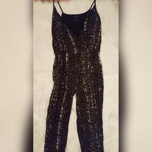 Jessica Simpson Dark Printed HolidayJumpsuit