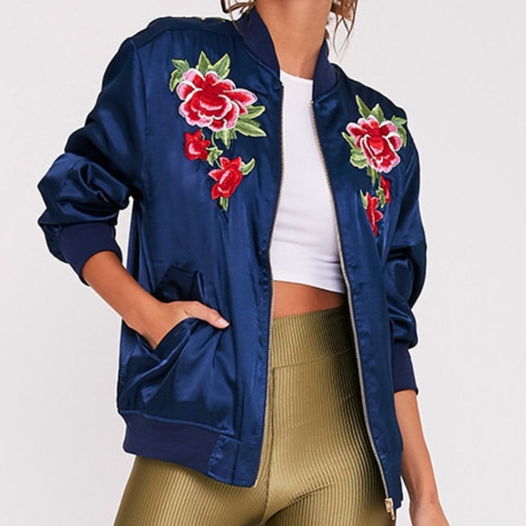 63906f508 pretty little things Jackets & Coats | Satin Floral Applique ...