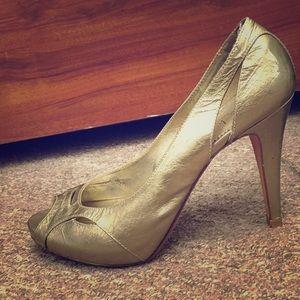 Gold peep-toe Nicole Miller heels