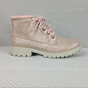 Cliffs Golden Sparkle Boots w/ Blush Laces Sz 7.5
