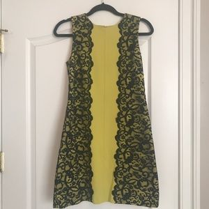 Cynthia Steffe yellow-green dress with black lace
