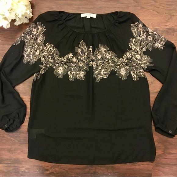 Loft Tops Sheer Black Magnolia Flower Long Sleeve Shirt Poshmark