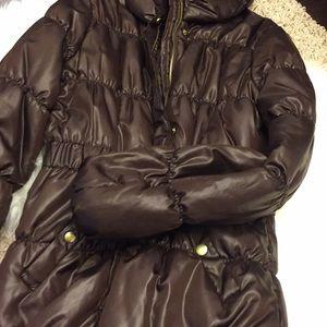 8e5b7dc86 H&M BROWN Shiny Nylon Puff Down Coat SZ 8