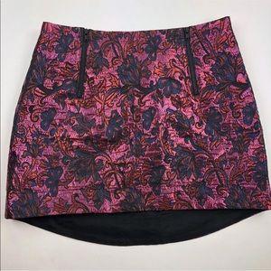 Topshop Skirt Size 4 Pink Metallic Floral Jacquard