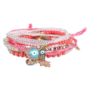 Jewelry - Pink Beaded Lucky Hamsa Charms Multilayer Bracelet