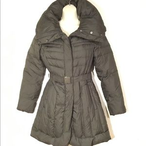 Cole Haan gray belted long puffer small