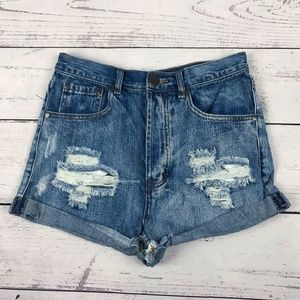 Tobi Distressed High Waisted Button Fly Shorts
