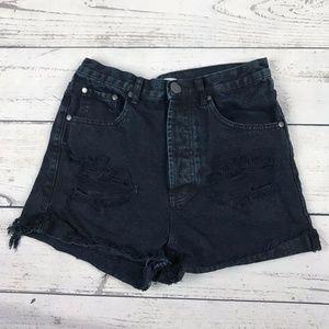 Tobi Distressed Black Button Fly High Waist Shorts