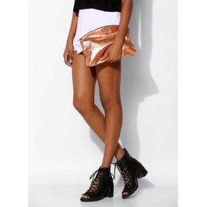 Baggu rose gold copper black leather clutch pouch