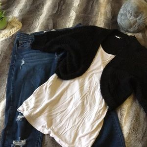 Black Cropped Sweater Cardigan