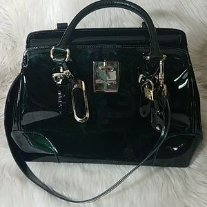 Giorgio Armani Black Patent Leather Handbag