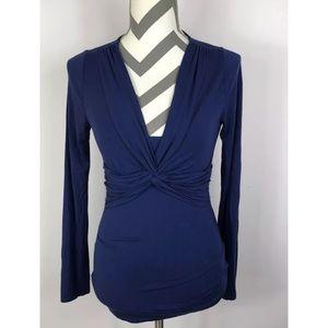 {Boden} Blue V-neck Knotted L/S Stretchy Knit Top