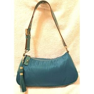Prada blue nylon shoulder handbag with a zip close