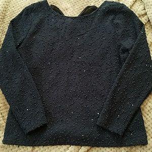 Sequin detail Blue Sweater