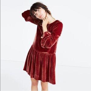 Madewell Bell Sleeve Drop Waist Velvet Dress