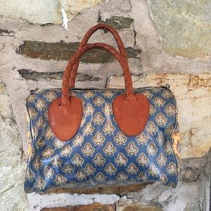 Vintage Paisley Color Blocked Small Duffle Bag