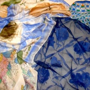 Vintage scarf lot-blue flower floral old scarves