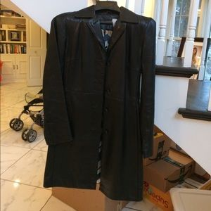 Kenneth Cole Leather Coat XS