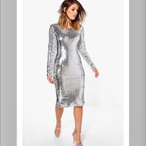 Silver Sequin Dress perfect for NYE!