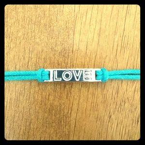 "Jewelry - NWOT. Genuine Turqoise Leather ""LOVE"" Bracelet"