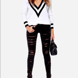 Blank NYC Shredded black skinny jeans