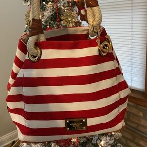 Michael Kors Marina Red Striped Canvas Bag