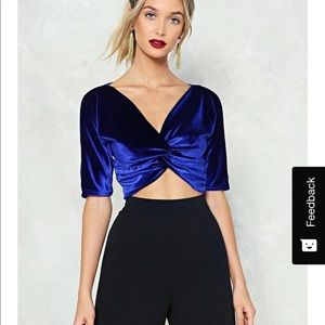 Nasty Gal blue velvet top