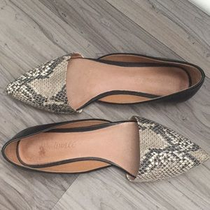 Madewell Snakeskin and Black Leather D'Orsay Flats