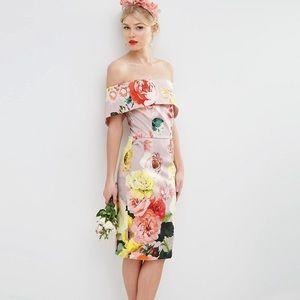 ASOS Bardot Midi Floral Dress Size 4