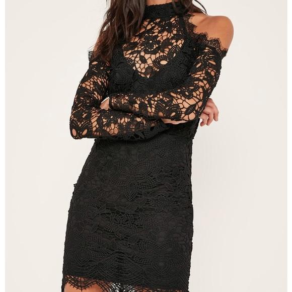 b54af46fb5 Missguided Dresses | Black Cold Shoulder Lace Bodycon Dress | Poshmark