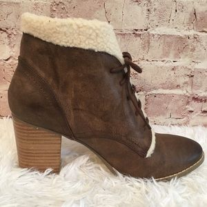 NWT Restricted Faux Fur Trimmed Brown Booties