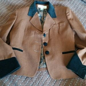 Vintage velvet brown black Jones New York blazer