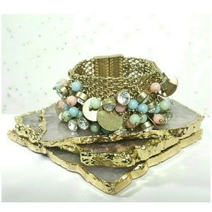 LOVELY Wide Chain Bracelet Cuffw/Pastel & Crystal
