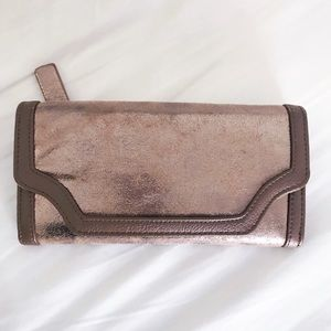 Anthropologie Rose Gold/Brown Wallet & Clutch