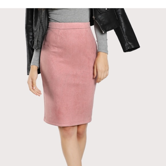e6c81834b Lulu's Skirts | Blush Suede Pencil Skirt Size Small | Poshmark