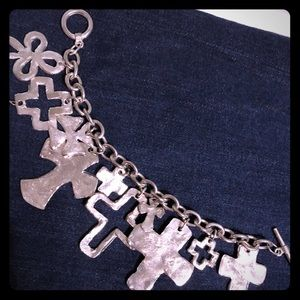 Multi Cross Silver Bracelet