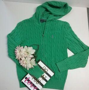Ralph lauren sport green hooded sweater