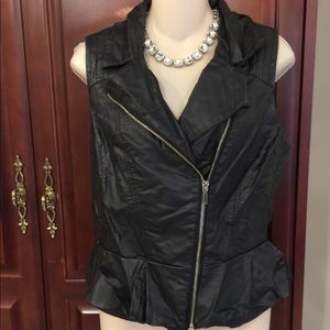 Bebe small black vest with silver zippers