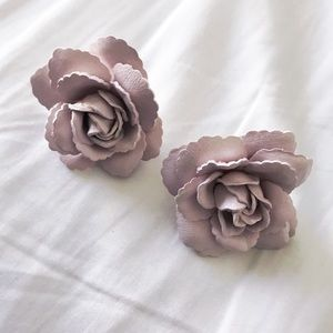 Light Pink Rose Statement Earrings