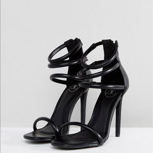"""Black strappy heels """"Four Strap Barely There"""""""
