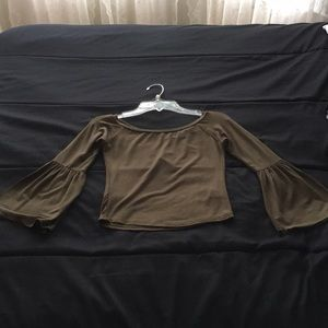 BRAND NEW OLIVE GREEN OFF THE SHOULDER TOP