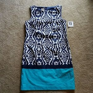 NWT Anne Klein navy dress with turquoise accent