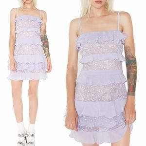 NWT For Love and Lemons Tiered Lace Mini Dress