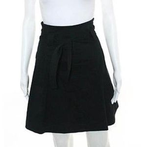THEORY BLACK POCKETED BELTED PLEATED A LINE SKIRT