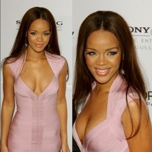 💃🏻 Authentic HERVE LEGER dress pink Rihanna XS S